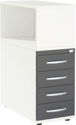 Anstellcontainer LOGIN, mit Aufsatzregal, 4 Schübe, B 409 x T 800 x H 1120 mm, Holz, abschließbar, weiß/graphit