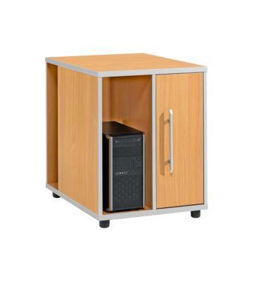Anstellcontainer Moxxo IQ, PC-Towerfach, 1 Tür, 2 seitliche Fächer, B 551 x T 800 x H 720 mm, Buche-Dekor