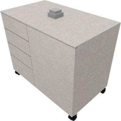 Anstellcontainer SOLUS PLAY, 4 Schübe, 1 Flügeltür, B 800 x T 500 x H 720 - 1080 mm, Ceramic grey