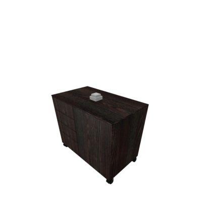 Anstellcontainer SOLUS PLAY, 4 Schübe, 1 Flügeltür, B 800 x T 500 x H 720 - 1080 mm, Mooreiche