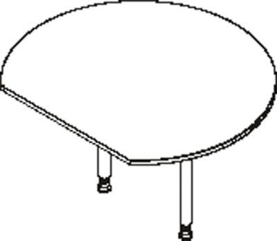 Anstelltisch, mit 2 Füßen, mit gerade angeschnittener Tischplatte, Ø 1200 mm, lichtgrau