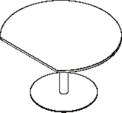 Anstelltisch, mit gerade angeschnittener Platte, Ø 1200 mm, Kirsche Romana/weißaluminium