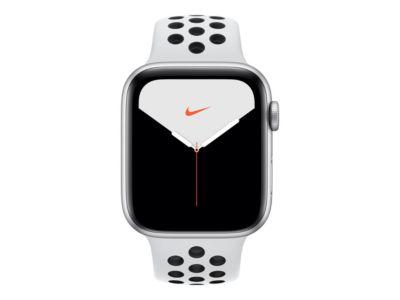 Apple Watch Nike Series 5 (GPS + Cellular) - Aluminium, Silber - intelligente Uhr mit Nike Sportband - pures Platin/schwarz - 32 GB - nicht angegeben