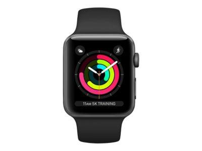 Apple Watch Series 3 (GPS) - Weltraum grau Aluminium - intelligente Uhr mit Sportband - schwarz - 8 GB