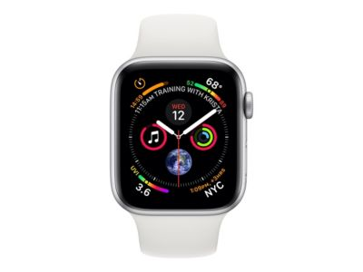 Apple Watch Series 4 (GPS) - Aluminium, Silber - intelligente Uhr mit Sportband - weiß - 16 GB
