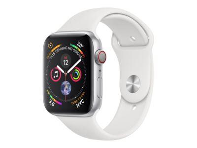 Apple Watch Series 4 (GPS + Cellular) - Aluminium, Silber - intelligente Uhr mit Sportband - weiß - 16 GB - nicht angegeben