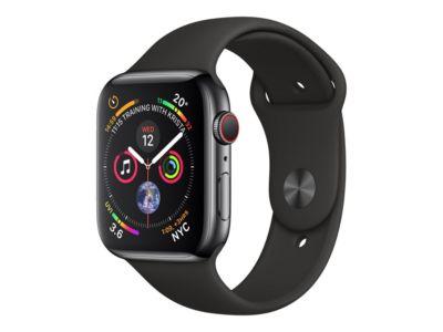 Apple Watch Series 4 (GPS + Cellular) - tiefschwarz Edelstahl - intelligente Uhr mit Sportband - schwarz - 16 GB - nicht angegeben