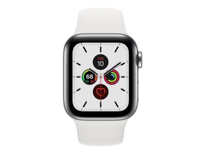 Apple Watch Series 5 (GPS + Cellular) - Edelstahl - intelligente Uhr mit Sportband - weiß - 32 GB - nicht angegeben