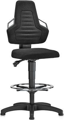 Arbeitsdrehstuhl, Gleiter + Fußring,, Stoff schwarz, Griffe grau