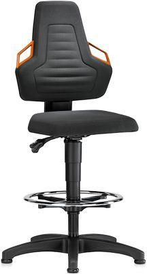 Arbeitsdrehstuhl, Gleiter + Fußring, Supertec schwarz, Griffe orange