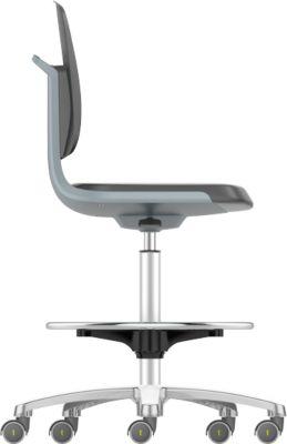 Arbeitsdrehstuhl Labsit hoch, Integralschaum, Sitz-Stopp-Rollen, B 450 x T 420 x H 560 - 810 mm, anthrazit