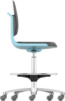 Arbeitsdrehstuhl Labsit hoch, Integralschaum, Sitz-Stopp-Rollen, B 450 x T 420 x H 560 - 810 mm, blau