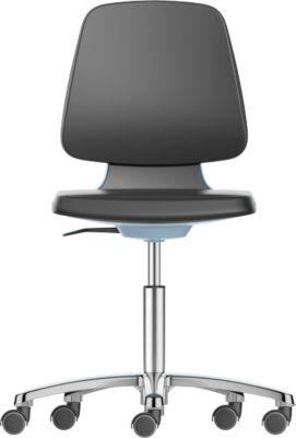 Arbeitsdrehstuhl Labsit, Kunstleder, Rollen, B 450 x T 420 x H 450 - 650 mm, blau