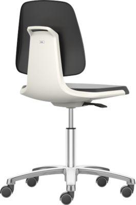Arbeitsdrehstuhl Labsit, Kunstleder, Rollen, B 450 x T 420 x H 450 - 650 mm, weiß