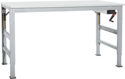 Arbeitstisch Ergo K, m. Kurbel,  1500 x 800 mm, Tischplatte Melamin, alusilber