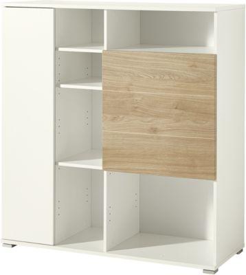 Archiefkast PASEO, 2 deuren, 4 in hoogte verstelbare legplanken, B 1130 x D 400 x H 1210 mm, eik/wit