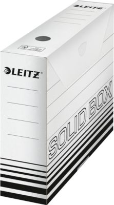 Archivschachtel Leitz Solid Box 6127 80 mm, DIN A4, für 700 Blatt, 10 Stück, weiß