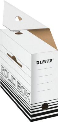 Archivschachtel Leitz Solid Box 6128 100 mm, DIN A4, für 900 Blatt, 10 Stück, weiß