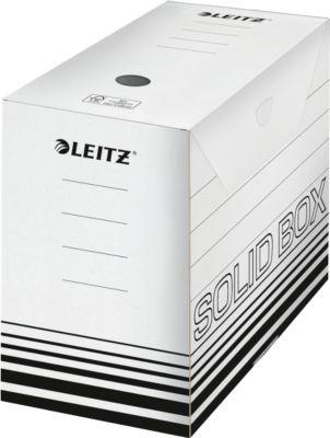 Archivschachtel Leitz Solid Box 6129 150 mm, DIN A4, für 1400 Blatt, 10 Stück, weiß