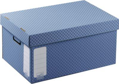 Archivschachtel mit Deckel, blau, 10 Stück