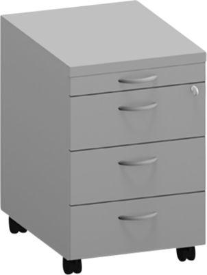 ARLON-OFFICE verrijdbare ladeblok, 1 + 3 houten laden, b 420 x d 560 x h 585 mm, lichtgrijs