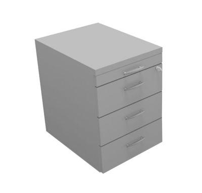 ARLON-OFFICE verrijdbare ladeblok, 1 + 3 stalen laden, b 420 x d 560 x h 585 mm, lichtgrijs