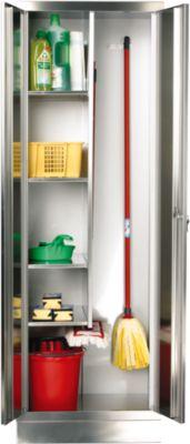 Armoire pour produits d'entretien inox, largeur 600 mm