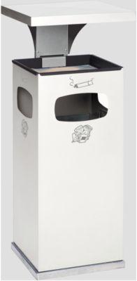 As-afvalbak B32, met kap, incl. binnenbak, wit
