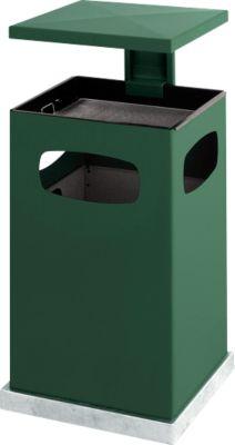 Asbak/prullenbak met afneembaar afdak, 38 liter, groen