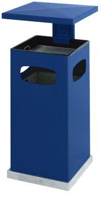 Asbak prullenbak met uitneembaar dak, 72 liter, blauw, 72 liter