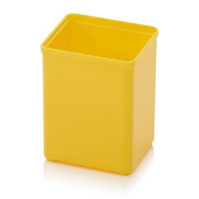 Assortimentsdoos Inzetbak 1 x 1 RAL 1003, vierkant, robuust kunststof, geel, met een kleur van 1 x 1 RAL 1003.