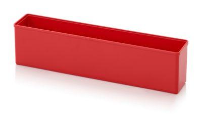 Assortimentsdoos Inzetbak, voor rastermaat 1 x 5, rechthoekig, rood, voor de roostermaat 1 x 5.