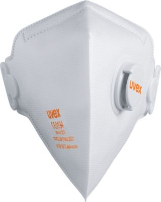 Atemschutzmaske Uvex silv-Air 3210, FFP 2 NR D, Faltmaske mit Ausatemventil, 15 Stück