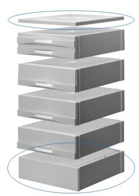 ATLANTA Sockel und Abdeckplatte, für Schubladenbox, hellgrau/hellgrau