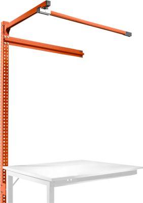 Aufbauportal m. Ausleger, Ansatztisch STANDARD Arbeitstisch/Werkbank UNIVERSAL/PROFI, 1250 mm, rotorange