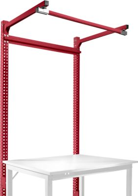Aufbauportal m. Ausleger, Grundtisch SPEZIAL Arbeitstisch/Werkbank UNIVERSAL/PROFI, 1250 mm, rubinrot