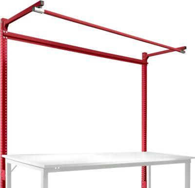 Aufbauportal m. Ausleger, Grundtisch SPEZIAL Arbeitstisch/Werkbank UNIVERSAL/PROFI, 2000 mm, rubinrot
