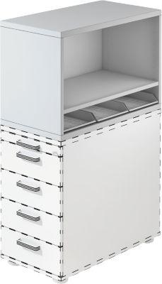 Aufsatzregal TOPAS LINE, für Standcontainer, 1 Fachboden, lichtgrau