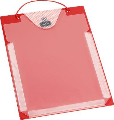 Auftragstaschen, Klettverschluss, Aufbewahrungsfach und Dehnfalte, DIN A4, rot