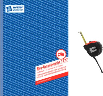 AVERY® Zweckform Bautagesberichte Nr. 1777 + Maßband, GRATIS