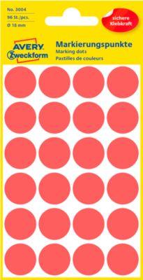 AVERY Zweckform Gekleurde Markeringspunten, Ø 18 mm, # 3004, rood