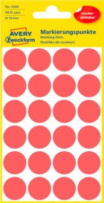 AVERY Zweckform Gekleurde Markeringspunten, Ø 18 mm, # 3595, verwijdbaar, rood