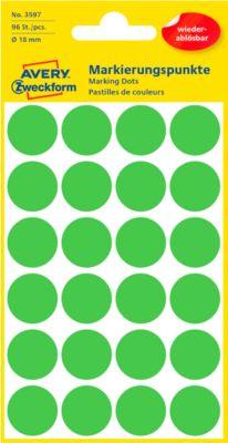 AVERY Zweckform Gekleurde Markeringspunten, Ø 18 mm, # 3597, verwijdbaar, groen