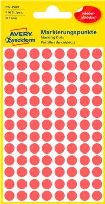 AVERY Zweckform Gekleurde Markeringspunten, Ø 8 mm, # 3589, verwijtbaar, rood