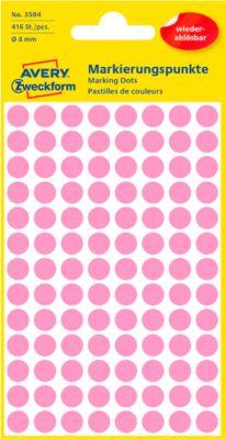 AVERY Zweckform Gekleurde Markeringspunten, Ø 8 mm, # 3594, verwijtbaar, roze