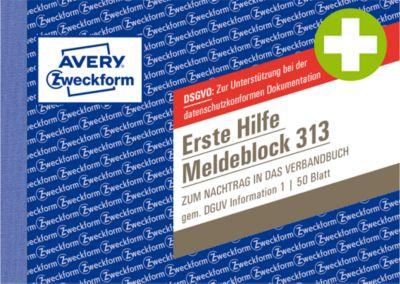 """AVERY® Zweckform Meldeblock """"Erste Hilfe DGUV Vorschrift 1"""", gelocht, 50 Blatt weiß, DIN A6 quer"""