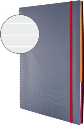 AVERY Zweckform Notizbuch Spiral, Logo, PP, 90 Blatt, DIN A4, liniert, grau