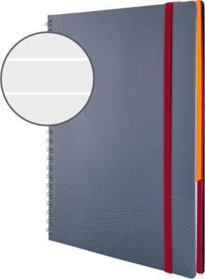 AVERY Zweckform Notizbuch Spiral, Logo, PP, 90 Blatt, DIN A5, liniert, grau