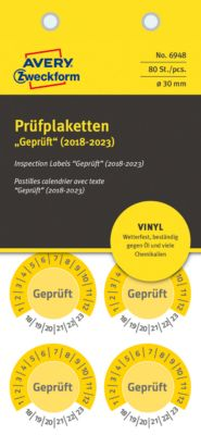 "AVERY® Zweckform Prüfplaketten ""Geprüft"", 2018-2023, Vinyl-Folie, gelb, Ø 30 mm"