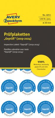 "AVERY® Zweckform Prüfplaketten ""Geprüft"", 2019-2024, Vinyl-Folie, blau, Ø 20 mm"